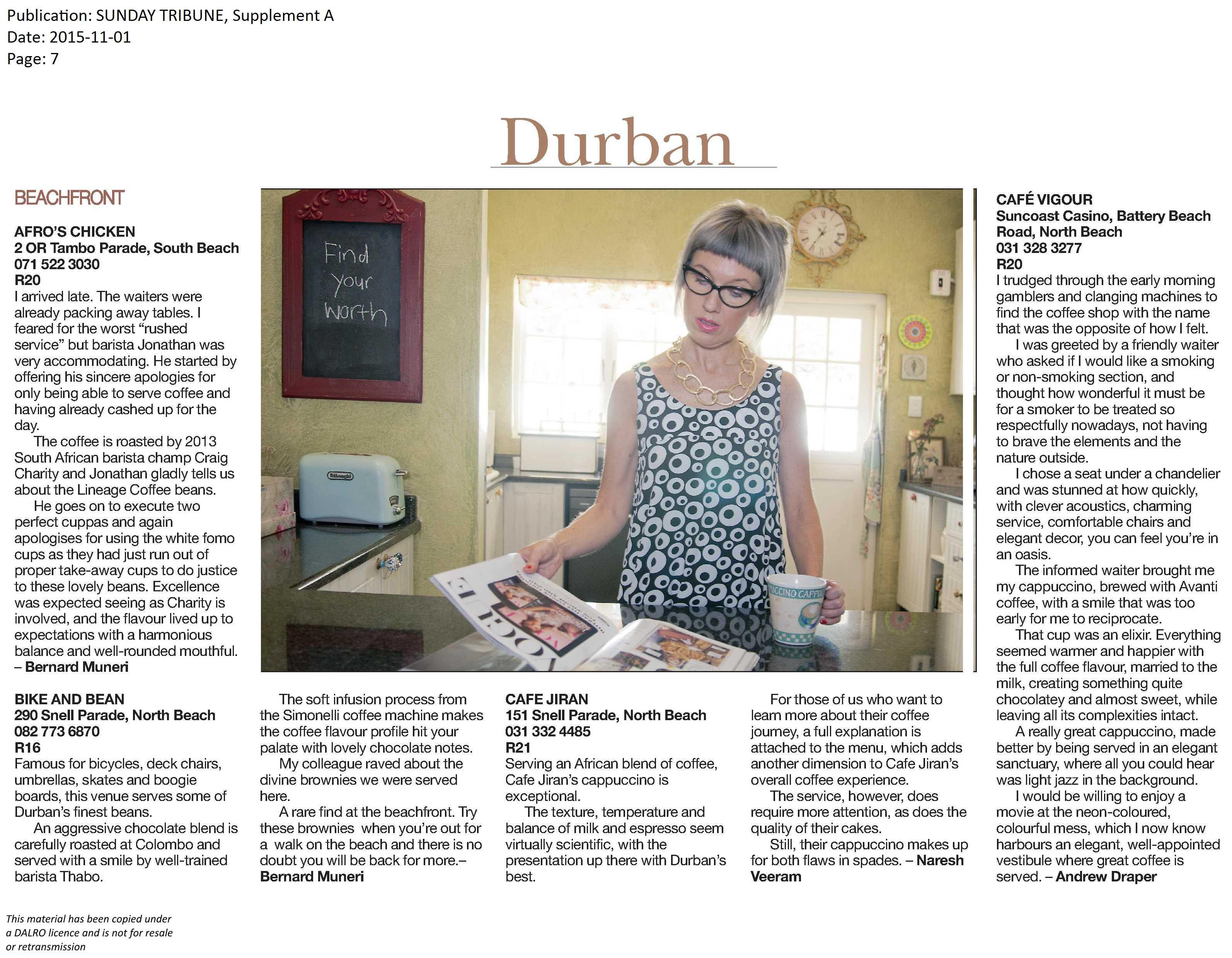 Sunday-Tribune-Cafe-Vigour-Review-1-November-2015