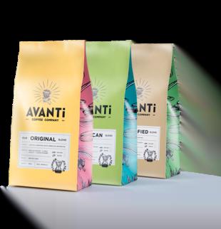 multi coloured avanti coffee bean bags